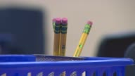 Chicago Public Schools open for the school year Pencils In Container In Classroom at Fiske Elementary School on August 26 2013 in Chicago Illinois