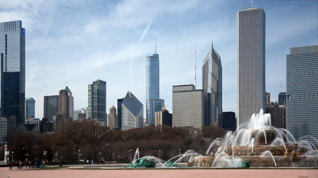 Skyline di Chicago e Buckingham Fountain