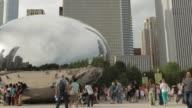 Chicago tourists enjoy The Bean at Millennium Park