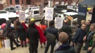 Chicagoans protesting Russia's actions in Crimea outside the Ukrainian Consulate on March 22 2014 in Chicago Illinois