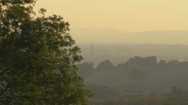 Chichester cathedral spire at dawn as seen from countryside north of town