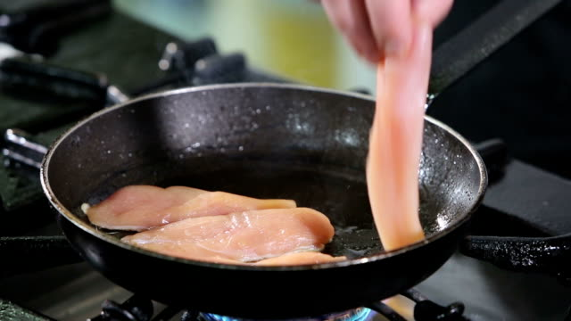 Chicken breast in cooking pan