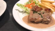 chicken steak with peppers sauce