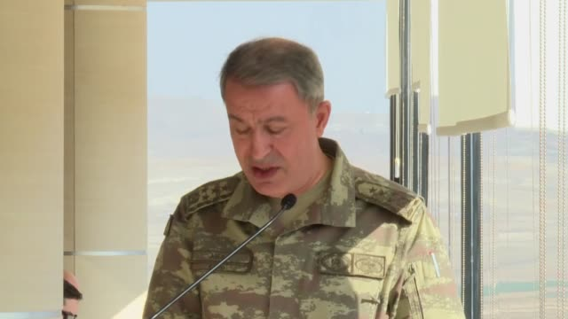 Chief of the General Staff of the Turkish Armed Forces Hulusi Akar delivers a speech at a military exercises conducted by Turkish Army with T129...