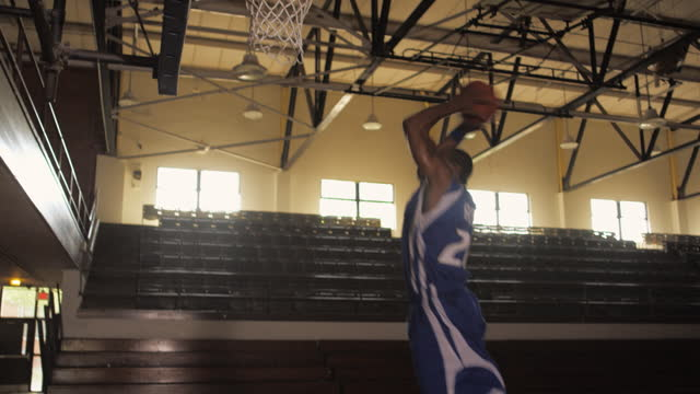 A Basketball Player Dribbles And Dunks In An Empty