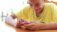Child boy with smart phone