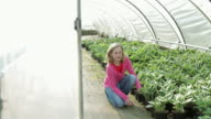 Child (11) holding up plant in green house at plant nursery