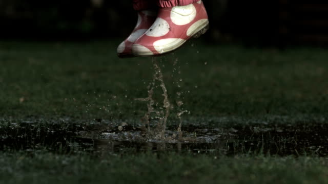 Child jumping in puddle, slow motion