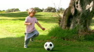 Child kicking a ball