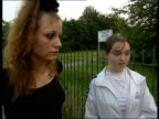 Yorkshire Near Sheffield Parsons Cross Council Estate Teenagers Joanne and Nicola towards pushing baby in pushchair Nicola interview SOT My sister...