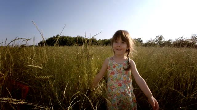 Bambino di albero giocando in un campo di orzo. Lente, i Look da sogno, rallentatore.