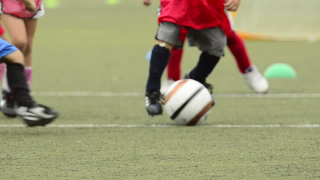 Children ages 5-7 playing soccer/ football. - 1920x1080
