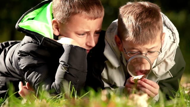 Children explore nature with magnifier