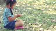 Children girl using phone.