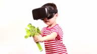 Children play virtual reality simulator