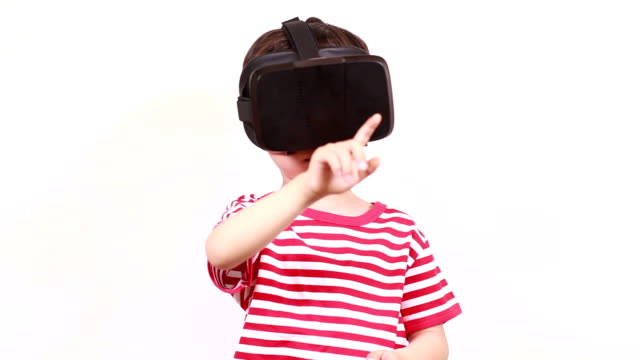 Children play virtual reality simulator