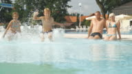 HD SLOW MOTION: Children Running And Splashing In Pool