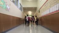 WS Children (8-11) walking through corridor of elementary school / University Place, Washington, USA