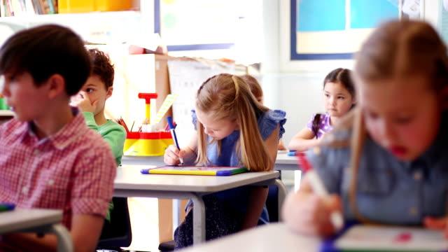 Children working at their desks