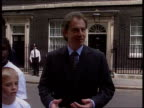 MILLENNIUM 'Children's promise' ITN London Downing Street PM Tony Blair MP out of Number 10 with Marks Spencer chairman Sir Richard Greenbury along...