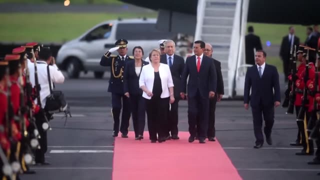 Chilean President Michelle Bachelet arrives in San Salvador on Wednesday where she visits the tomb of slain revered Archbishop Oscar Romero the...