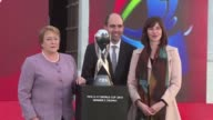 Chilean president Michelle Bachelet welcomes the football World Cup under 17 trophy which will travel across the country before the launch of the...