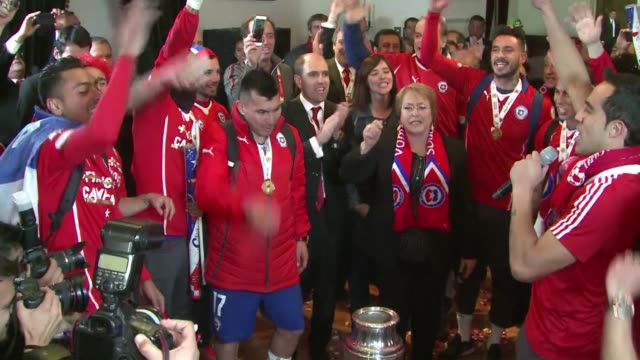 Chiles team arrived triumphant at La Moneda Presidential Palace to celebrate their first Copa America win with President Michelle Bachelet