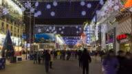 China, Beijing, Wangfujing Daje shopping street - Time lapse