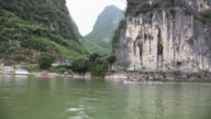 China, guangxi province, view from a boat of li river and landscape