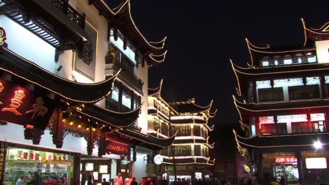 MS, PAN, China, Shanghai, Chinese Pavilions illuminated at night
