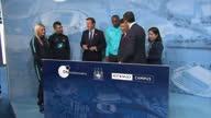 China's President Xi Jinping and Britain's Prime Minister David Cameron meet Manchester City's Sergio Kun Aguero Manchester City Women's Toni Duggan...
