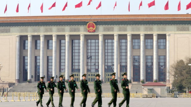 Chinese armed police guards outside the Great Hall of the People on March 05 2017 in Beijing China