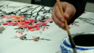 Chinese artist drawing traditional chinese painting with brush, real time.