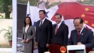 Chinese FM Wang Yi and Panama President Juan Carlos Varela inaugurate the new Chinese embassy in Panama