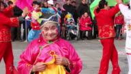 MS TS Chinese folk artists performing at temple fair to celebrate chinese spring festival  AUDIO  / xi'an, shaanxi, china
