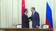 Chinese Foreign Minister Wang Yi meets with his Russian counterpart Sergei Lavrov to discuss amongst other things Syria and North Korea in the...