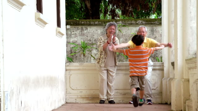 Chinese Grandparents and Grandson