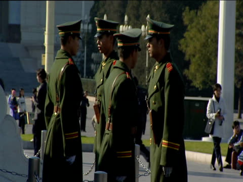 Chinese guards in green uniform march turn and salute Beijing