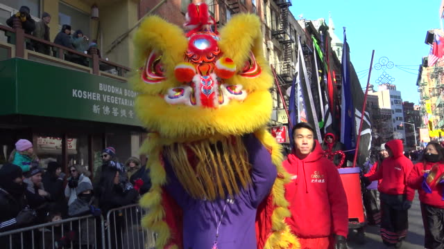 Chinese New Year Parade in Chinatown celebrating The Year of the Monkey / Lower Manhattan New York City USA