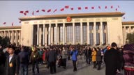 Chinese President Xi Jinping and Prime Minister Li Keqiang attend the opening of the Fourth Session of the 12th National People's Congress at the...