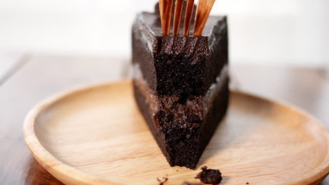 Chocolate cake in cafe