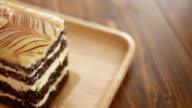 Chocolate cake on the wood dish