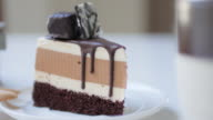 Chocolate cake with chocolate cream , dolly shot moving