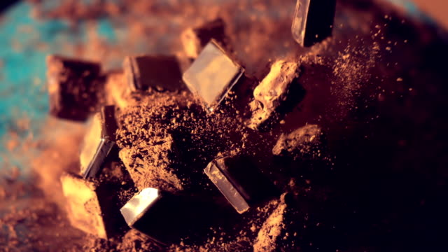 Chocolate pieces falling down