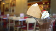 chocolate sundae ice-cream in cafe