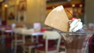 chocolate sundae ice-cream in cafe