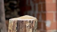 SLO MO Chopping the wood