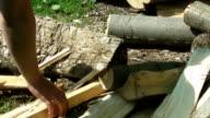 chopping wood close up