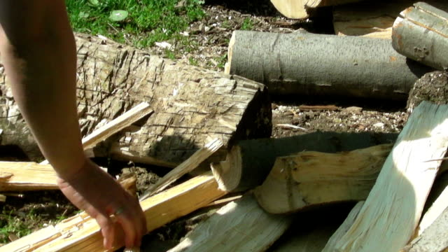 chopping wood close up