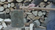 Hacken Holz Zeitlupe
